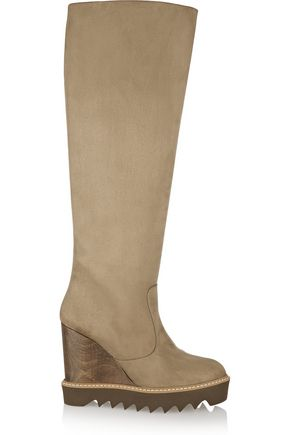 STELLA McCARTNEY Faux suede wedge knee boots