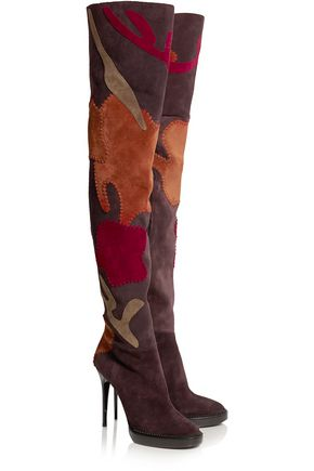 BURBERRY Appliquéd suede over-the-knee boots