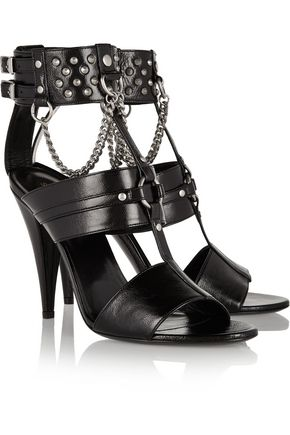 SAINT LAURENT Studded chain-embellished leather sandals
