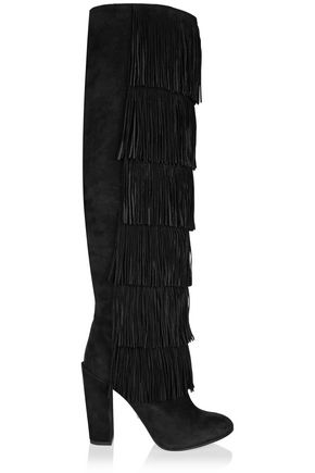 PAUL ANDREW Tara fringed suede knee boots