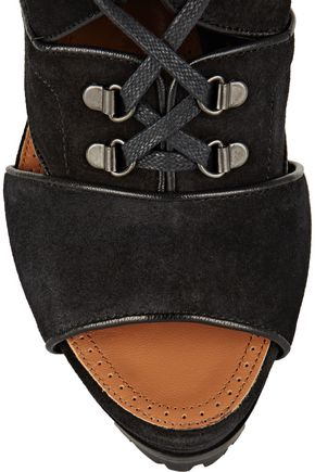 ALAÏA Leather-trimmed suede ankle boots