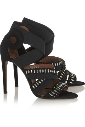 ALAÏA Embellished suede and elastic sandals