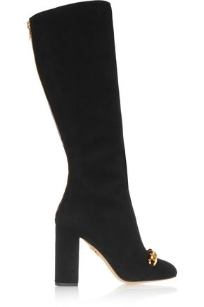 CHARLOTTE OLYMPIA Barbara embellished suede knee boots