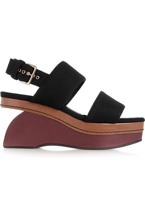 MARNI Color-block felt wedge sandals