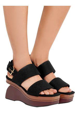 MARNI Color-block felt wedge sandals