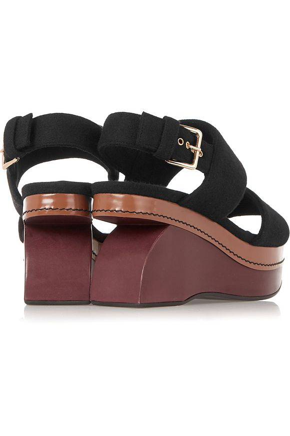 53afb056884 Color-block felt wedge sandals