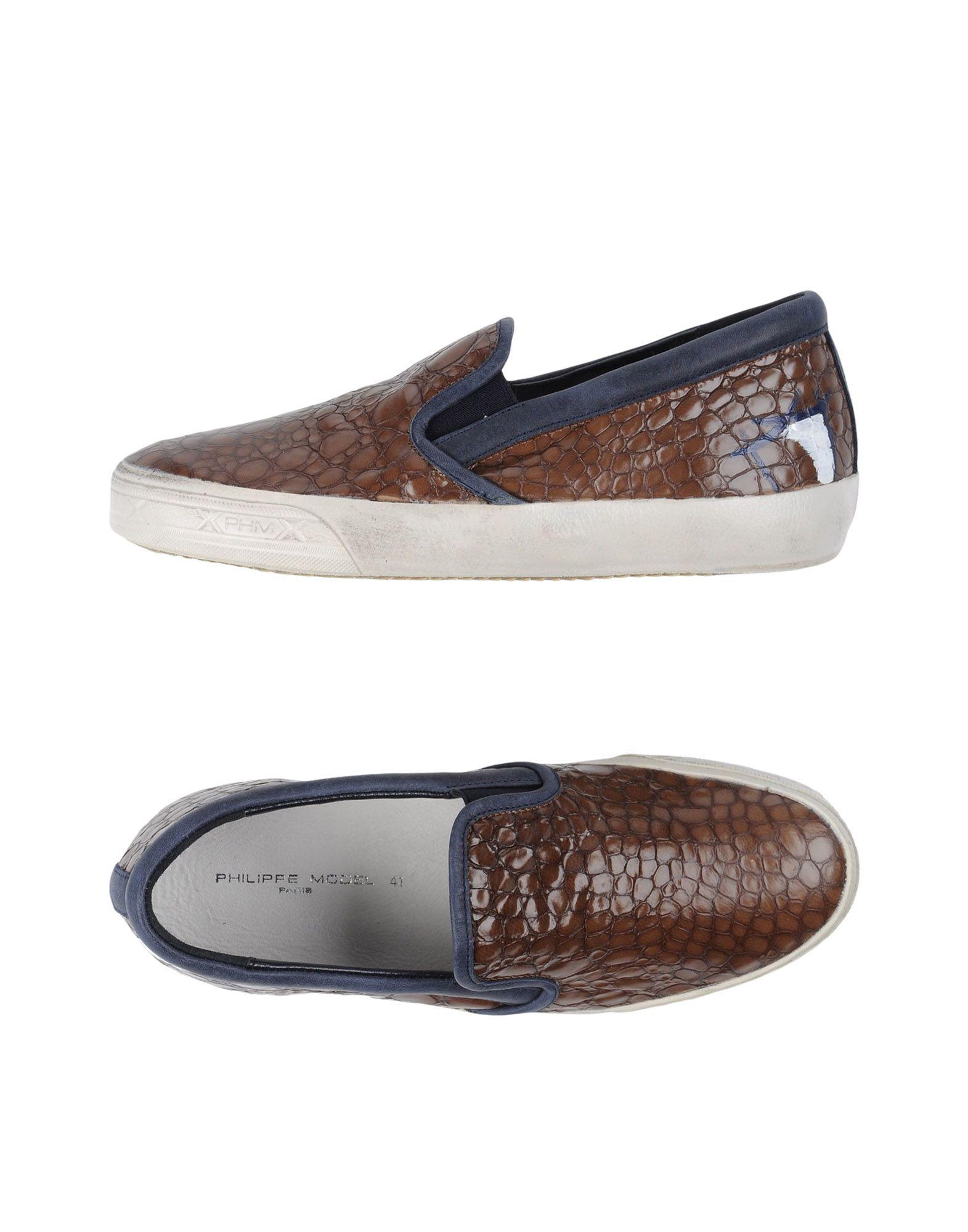 PHILIPPE MODEL Herren Low Sneakers & Tennisschuhe Farbe Dunkelbraun Größe 9 - broschei