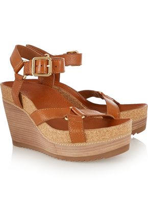TORY BURCH Brenden textured-leather wedge sandals