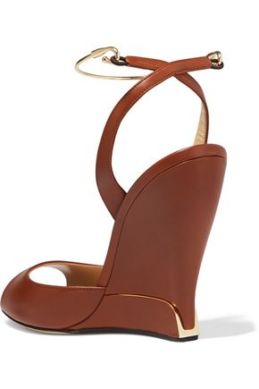 PAUL ANDREW Delphi metal-trimmed leather wedge sandals