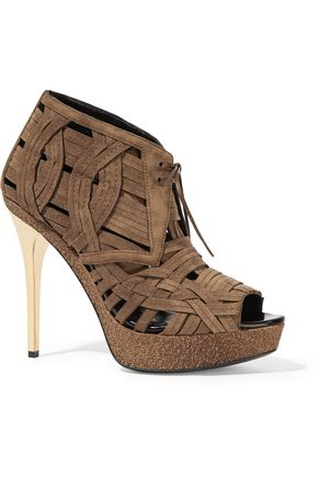 BURBERRY Woven suede ankle boots