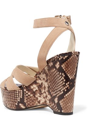 MICHAEL MICHAEL KORS Megan suede and snake-effect leather wedge sandals