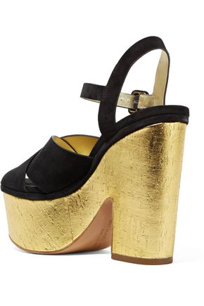 MICHAEL KORS COLLECTION Hilary suede and metallic cork platform sandals