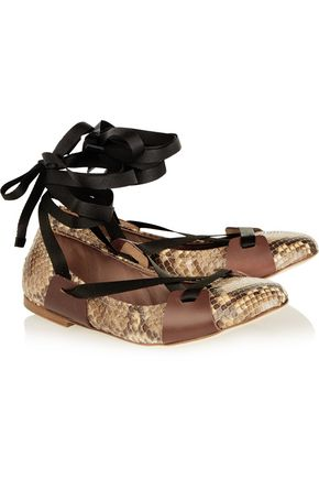 MARNI Lace-up leather-trimmed python ballet flats