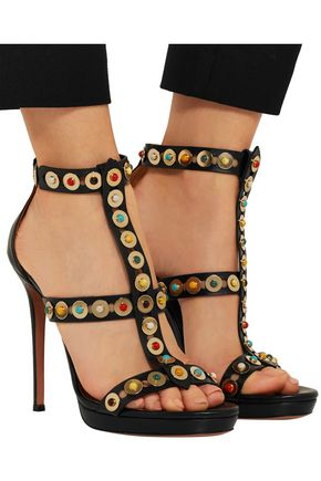 AQUAZZURA Byzantine embellished leather sandals