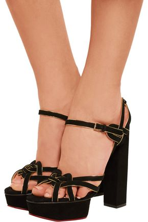 CHARLOTTE OLYMPIA Forever Young metallic-trimmed suede platform sandals