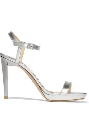 JIMMY CHOO LONDON Claudette mirrored-leather platform sandals