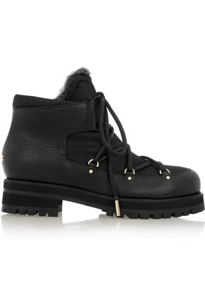 JIMMY CHOO LONDON Ditto shearling-lined textured-leather and canvas ankle boots
