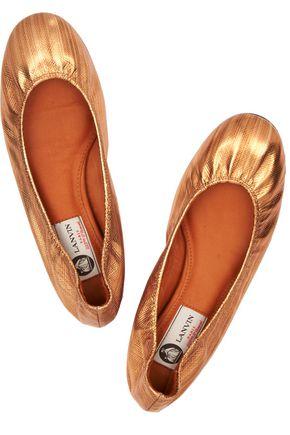 LANVIN Metallic textured-leather ballet flats