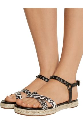 LANVIN Printed elaphe and studded leather sandals