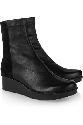ROBERT CLERGERIE Noa leather and stretch-suede wedge ankle boots