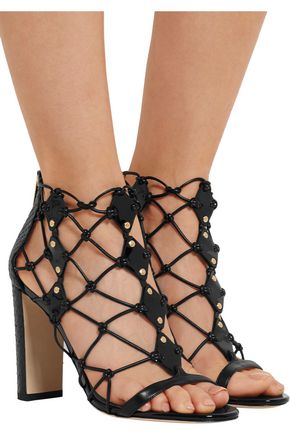 JIMMY CHOO LONDON Tickle studded leather and elaphe sandals