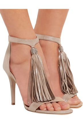 JIMMY CHOO LONDON Viola crystal-embellished tasseled suede sandals