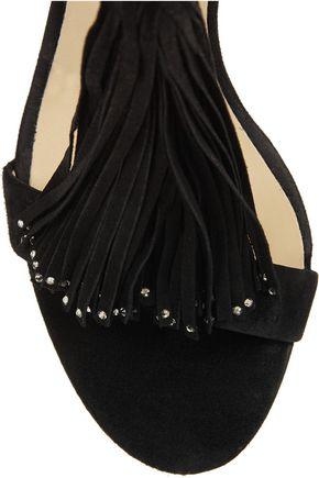 JIMMY CHOO Viola crystal-embellished tasseled suede sandals