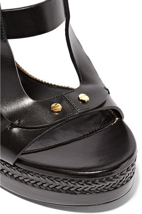 TOM FORD Embellished leather wedge sandals