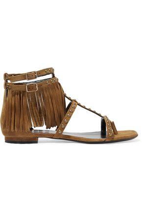 SAINT LAURENT Studded fringed suede sandals