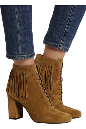 SAINT LAURENT Babies fringed suede boots