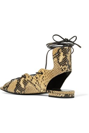SAINT LAURENT Lace-up snake-effect leather sandals