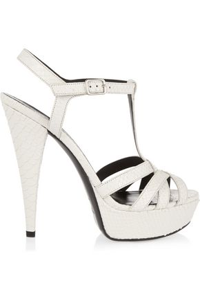 SAINT LAURENT Jodie snake-effect leather sandals
