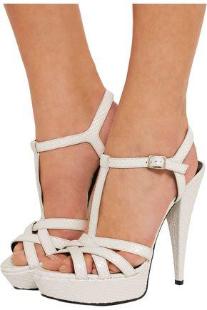 SAINT LAURENT Jodie snake-effect leather sandals