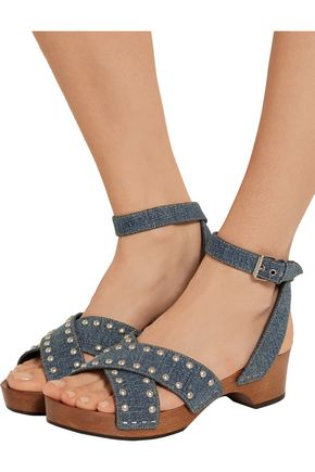 SAINT LAURENT Studded denim sandals