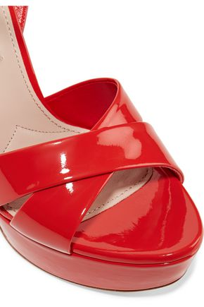MIU MIU Embellished patent-leather platform sandals