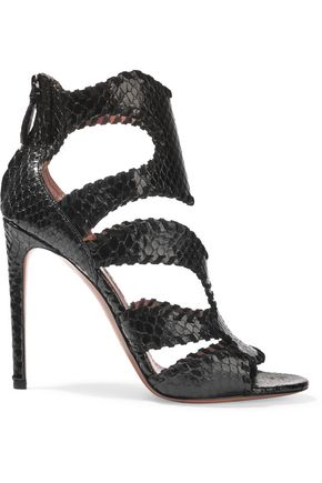 ALAÏA Whipstitched python sandals