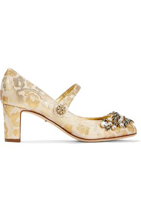 DOLCE & GABBANA Embellished metallic brocade Mary Jane pumps