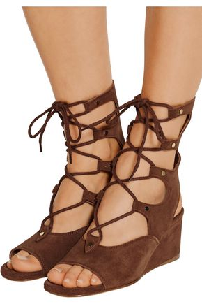 CHLOÉ Lace-up suede wedge sandals