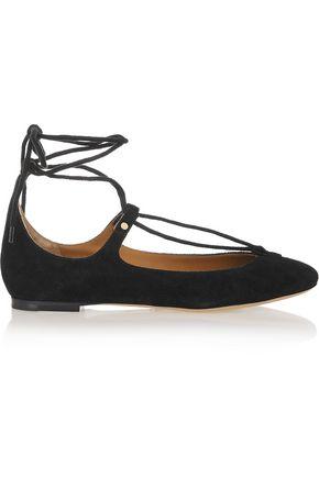 53b5af8ef5e0 CHLOÉ Lace-up suede ballet flats