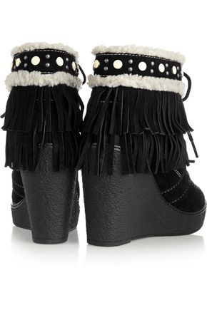 a1a736683cd1 ... SAM EDELMAN Kemper faux shearling-lined fringed suede wedge boots