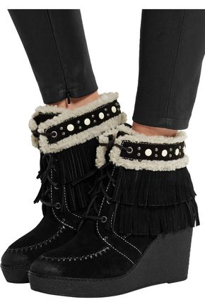 ... SAM EDELMAN Kemper faux shearling-lined fringed suede wedge boots ...