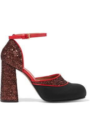 MARNI Glittered twill and patent-leather Mary Jane pumps