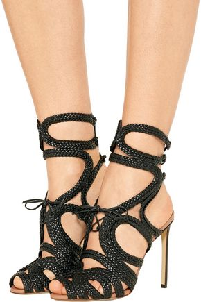 FRANCESCO RUSSO Braided patent-leather sandals