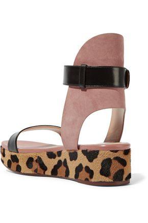 FRANCESCO RUSSO Leather, suede and leopard-print goat hair platform sandals