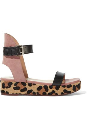 FRANCESCO RUSSO Leather, suede and leopard-print goat hair platform sandals