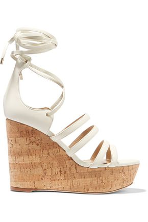 TAMARA MELLON Yosemite leather and cork wedge sandals