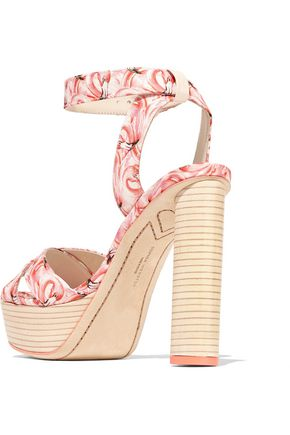 SOPHIA WEBSTER Amanda Dreamy Flamingo printed satin platform sandals