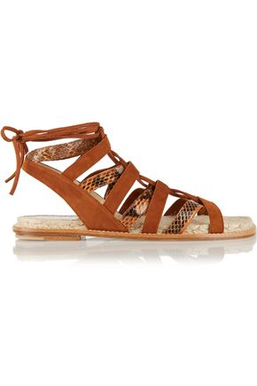 PAUL ANDREW Lace-up elaphe and suede sandals