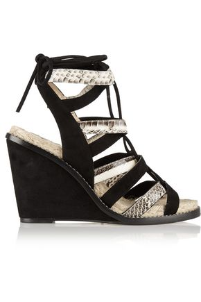 86a73276b9a2 PAUL ANDREW Elaphe and suede espadrille wedge sandals ...