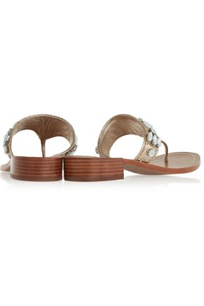 TORY BURCH Ginevra embellished metallic leather sandals